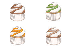 Four Cupcakes Stock Images