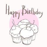 Four cupcakes, happy birthday card Stock Images
