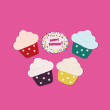 Four Cupcakes  on pink background Stock Image