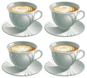 Four cups with cappuccino. Vector illustration of four cups with cappuccino and pictures heart, smile, snowflake, question Royalty Free Stock Images