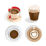 Four cups of coffee. Four cups of different type of coffee Stock Photos