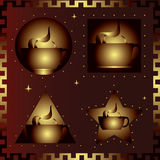 Four cups of coffee Stock Images