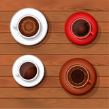 Four cups of coffee Stock Image