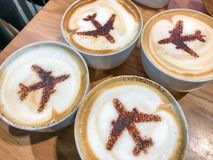 Free Four Cups Of Coffee With Airplane Silhouettes. Vacation, Holiday Stock Photo - 110636370