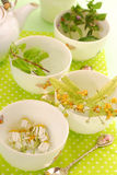 Four cups to prepare herbal tea. Four cups to prepare various herb`s tea-chamomile,linden,mint and nettle Stock Images