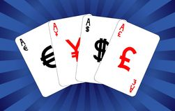 Four currency aces Stock Images