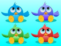 Four cute Birds Stock Photos