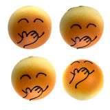 Four Cute Breads with various face expressions Stock Images