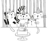 Four cute cartoon cats in the birthday party. Black and white vector illustration. Royalty Free Stock Photo