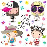 Cute cartoon girls on a flowers background. Four Cute cartoon girls on a flowers background Vector Illustration