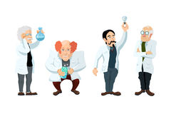 Four cute cartoon scientists characters  on white Stock Images