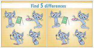 Four cute cats. Children's game Find 5 differences. Vector Stock Photos