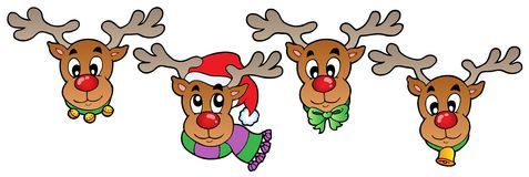 Four cute Christmas deers Royalty Free Stock Photos