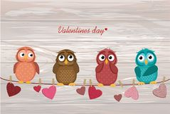 Four cute colored owlet sitting on a string. A red hearts with a. Picture hanging on a rope. Valentine`s Day. Vector illustration. Greeting card with empty royalty free illustration