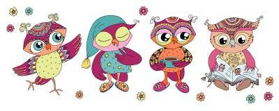 Four cute colorful cartoon owls stock illustration