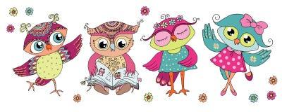 Four cute colorful cartoon owls royalty free illustration