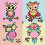 Four cute colorful owls sitting on tree branch vector illustration