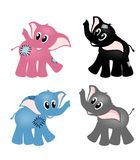 Four cute elephants Stock Image