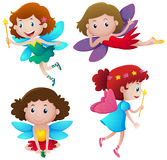 Four cute fairies flying. Illustration Royalty Free Stock Photography