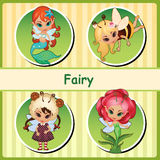 Four cute fairies - mermaid, bee, lamb and flower Royalty Free Stock Photos