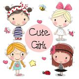 Four Cute girls on a white background. Four Cute cartoon girls on a white background Royalty Free Stock Photo