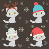 Four cute kittens characters Stock Images