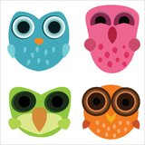 Four cute little cartoony owls. Four cute little colourful cartoony owls with funny expressions Royalty Free Stock Photos