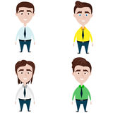 Four cute men with different hairstyles. On white background vector illustration