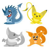 Four cute monster. Set of cute monsters on a white background Stock Photo