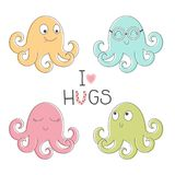 Four cute octopus for children. Childrens octopus set and inscription - I love hugs isolated on white background Royalty Free Stock Image