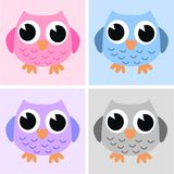 Four cute owls Stock Image