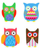 Four cute owls Royalty Free Stock Photos
