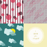 Four cute pattern is a set. A set of three cute ptterns and lovely valentines day card. Patterns with polka-dot, stripes, fethers, clouds and sun Royalty Free Stock Photography
