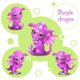 Four cute purple dragon, individual icons Royalty Free Stock Photo