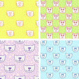 Four cute seamless pattern with cat faces Royalty Free Stock Images