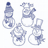 Four cute snowman.Vector illustration, sketch. Isolated. Stock Image