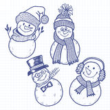 Four cute snowman.Vector illustration, sketch. Isolated. Stock Photography