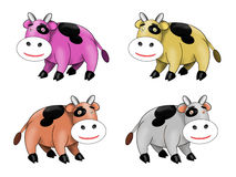 Four Cute Spotted Cow Royalty Free Stock Photos