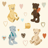 Four Cute Teddy Bears. Illustration of Cute Teddy Bears and Little Colored Hearts Vector Illustration