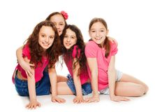 Four kids girls in pink royalty free stock photography