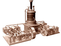 Four cylinder steam engine and boiler Stock Images
