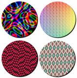 Four 3D Multi colord patterned circular disks. A set of four 3D rendered Multi colord patterned circular disks for multipe type usage Royalty Free Illustration