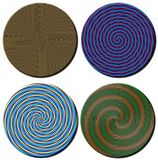 Four 3D spiral patterned circular disks. A set of four 3D rendered spiral patterned circular disks for multipe type usage Stock Photography