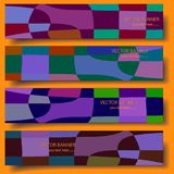 Four 3D vector banners with hand-drawn abstract background. vector illustration