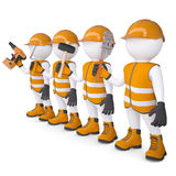 Four 3d white mans in overalls with a tools. Isolated render on a white background Stock Photo
