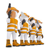 Four 3d white mans in overalls with a tools. Render on a white background Stock Photos