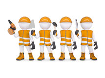 Four 3d white mans in overalls with a tools. Render on a white background Stock Photo