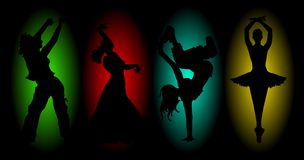 Four dances. Four silhouettes dancing on a colored background Royalty Free Stock Photos