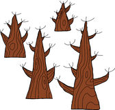 Four Dead Trees. Set of four dead trees over white background Stock Images