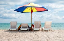 Four deck chairs Royalty Free Stock Image